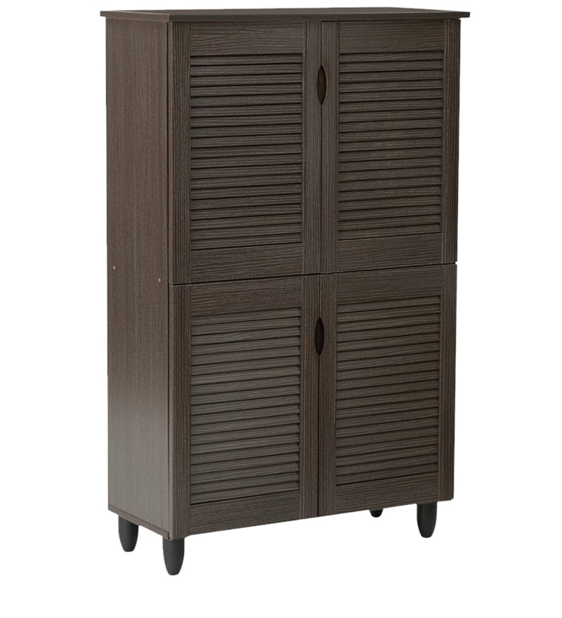 Buy Jurou Four Door Shoe Cabinet In Two Tone Wenge Finish