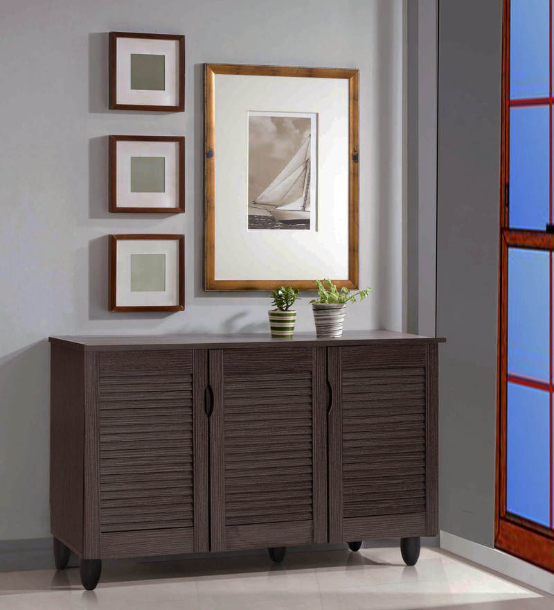 Jurou Three Door Shoe Cabinet in Two Tone Wenge Finish by Mintwud