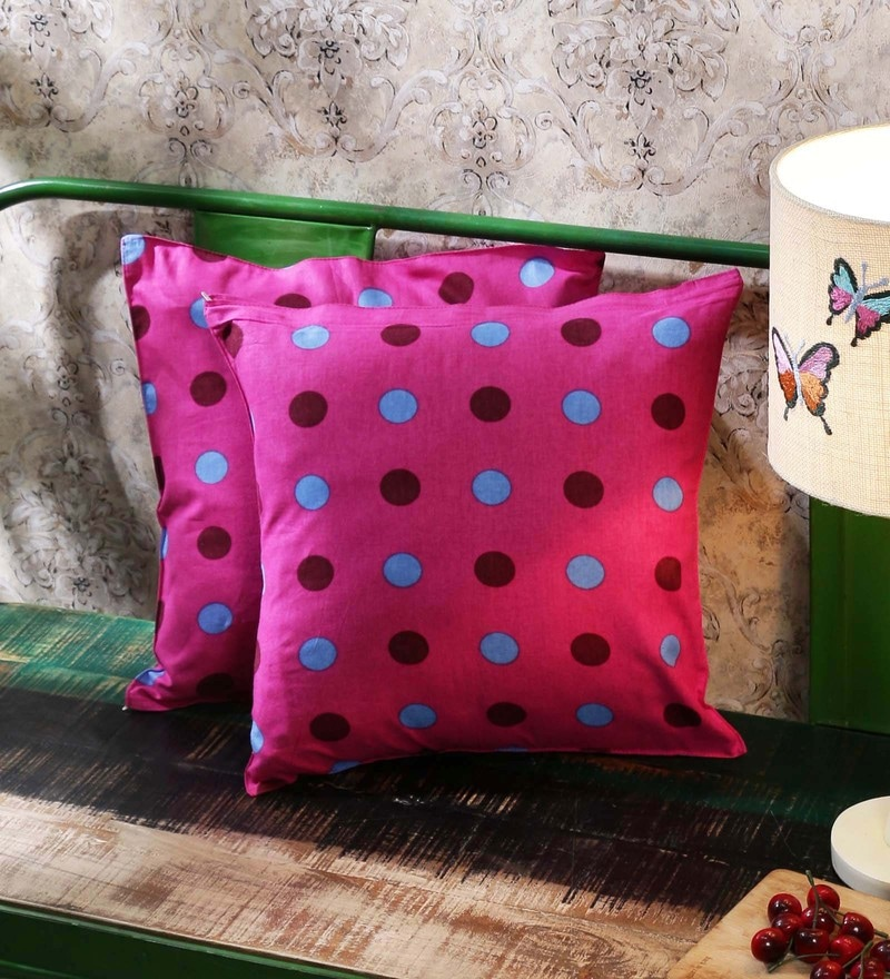 Multicolour 100% Cotton 16 x 16 Inch Cushion Covers - Set of 2 by Just Essential
