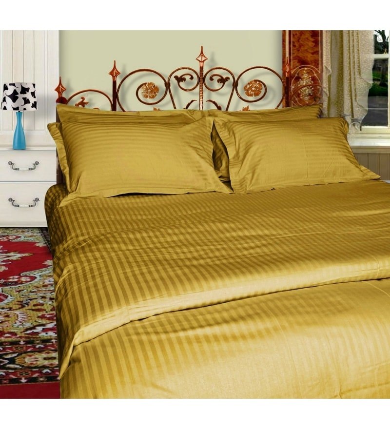 Just Linen Golden Satin Single Size Flat Bed Sheet - Set of 2