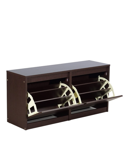 Buy Furniture Cabinetry Shoe Racks Tilt Out Shoe Racks Kannon Shoe Rack in Columbia Walnut Finish by Mintwud