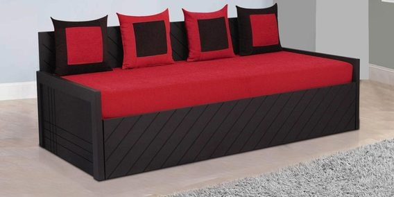 Kaiden Sofa Bed With 4 Cushions In Red Colour