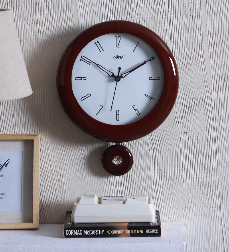 Kaiser Brown Wood 8.8 x 1.7 x 8.8 Inch Wall Clock