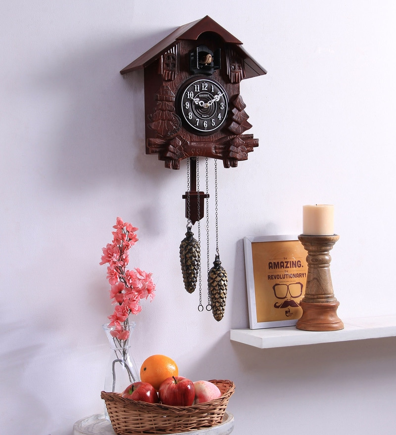 Cola Wooden 12 x 2 x 13.8 Inch Cuckoo Wall Clock by Kaiser