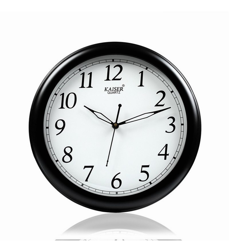 Black Wooden 11 Inch Round Office Wall Clock by Kaiser