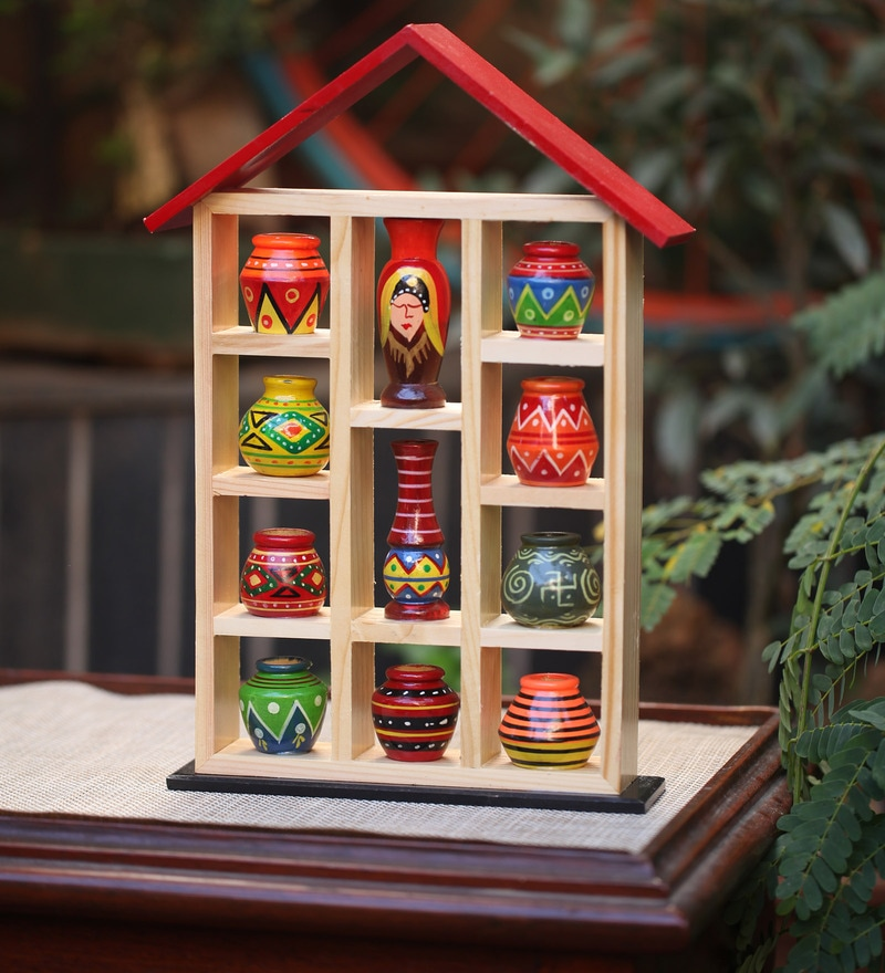 Handpainted 9 Pots with Wooden 11 x 2 x 10 Inch Frame by Kalaplanet