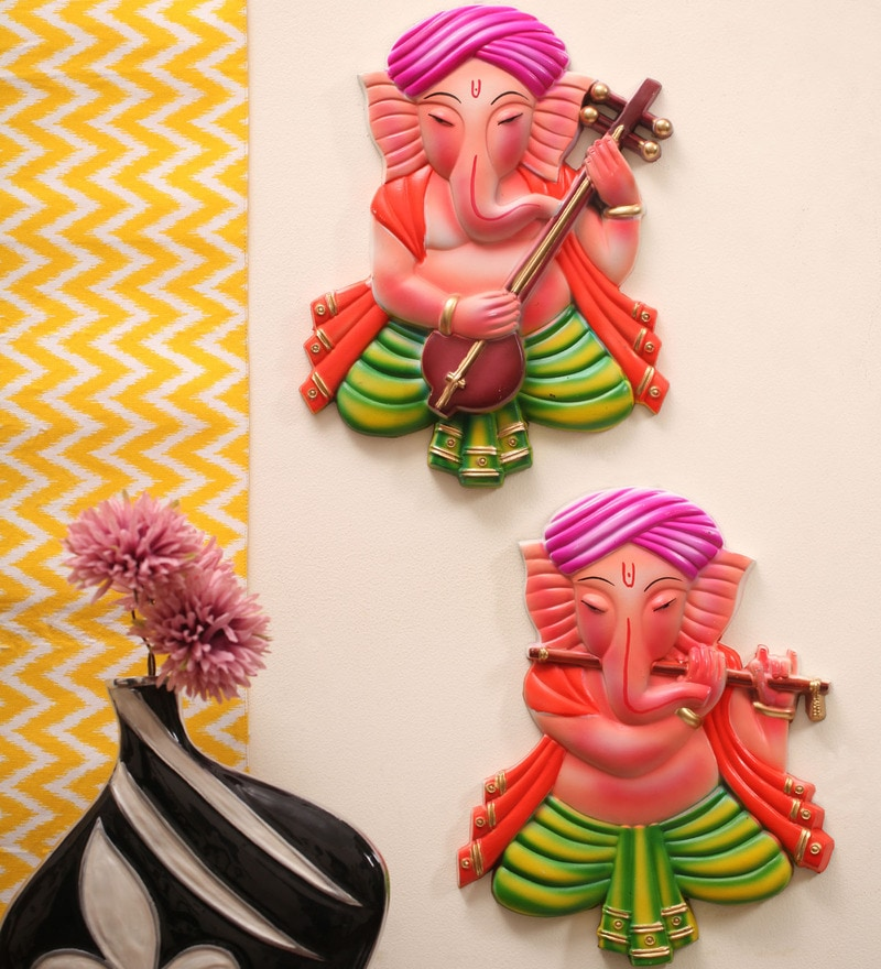 Melody of Ganesha Multicolor Plastic Wall Hanging Set by Kalaplanet