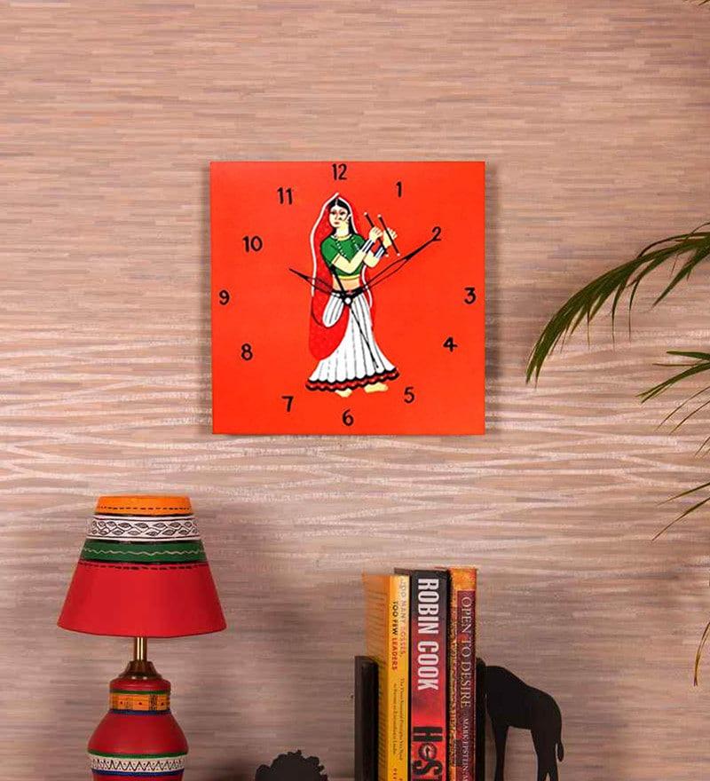 Multicolour Wood 10 x 1 x 10 Inch Dandiya Wall Clock by Kalaplanet