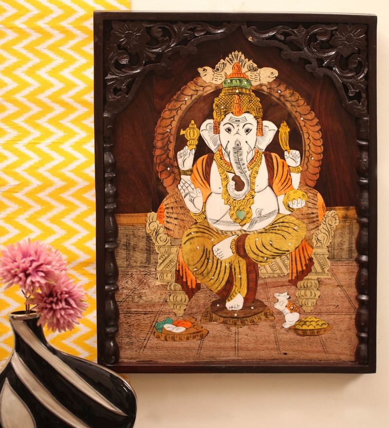 Ganesha Rose Wood 15 x 1 x 20 Inch Framed Wall Painting by Kalaaplanet
