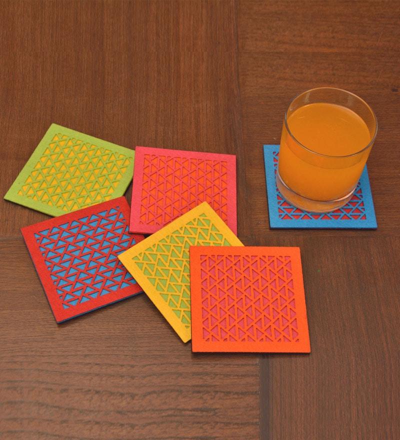 Kanhai Illusions Cutting Edge Multicolour Non Woven Felt & MDF Coaster - Set of 6