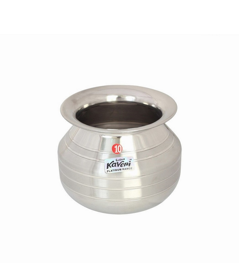 Kaveri Stainless Steel Puja Kalash Water Containers 1.2 L Shiena Handi