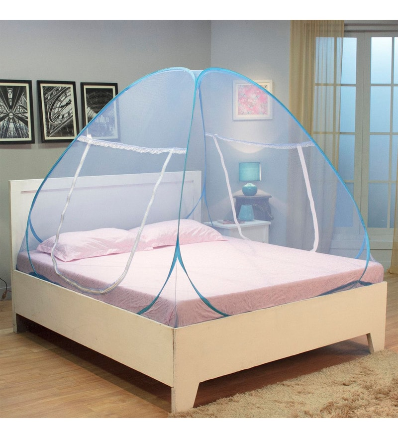 Kawachi Double Bed Size Folding Mosquito Net Blue Polyester & Cotton Mosquito Net