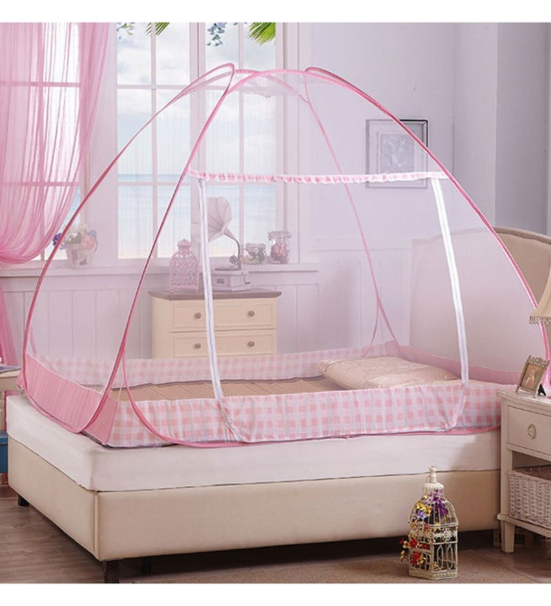 Kawachi Double Bed Size Folding Mosquito Net Pink Polyester & Cotton Mosquito Net