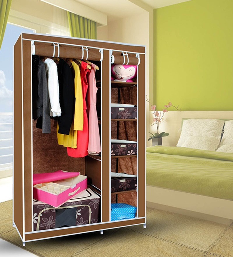 Kawachi Elegant Double-Sided Foldable Resin & Metal Brown Wardrobe