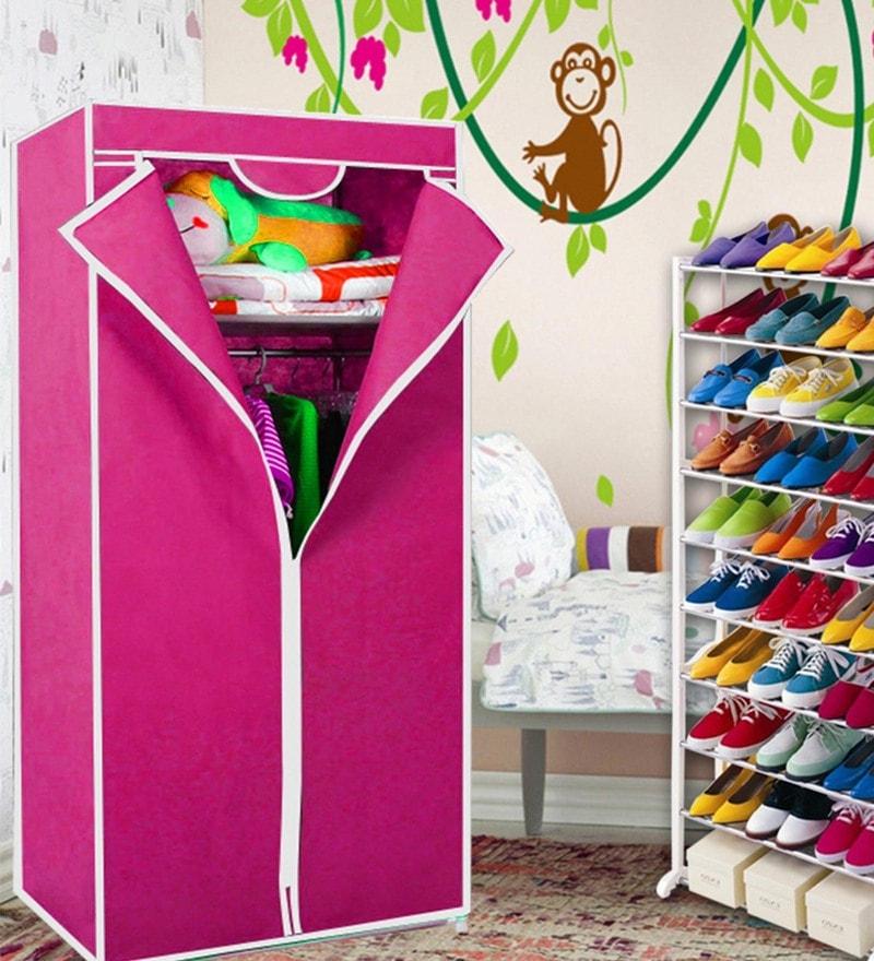 Kawachi Single Door Space Saving Plastic & Metal Foldable Wardrobe & Shoe Rack Combo