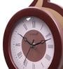 Brown & Yellow Wooden 8 x 22 Inch Fancy Roman Digits & Hands Pendulum Wall Clock by Kaiser