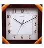 Brown Wooden 13 x 13 Inch Square Wall Clock by Kaiser