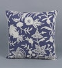 Blue & White Cotton & Wool 20 x 20 Inch American Flower Cushion Cover by KEH