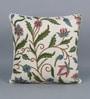 KEH Multicolour Cotton & Wool 20 x 20 Inch Big Leaves Cushion Cover