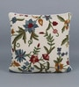 Multicolour Cotton & Wool 20 x 20 Inch Heavy Flower Cushion Cover by KEH