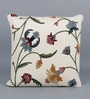 Multicolour Cotton & Wool 20 x 20 Inch Leaves Cushion Cover by KEH
