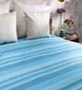 Khadi Blue Cotton Stripes & Checks 100 x 90 Inch Queen Beds Bed Sheet