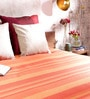 Khadi Orange Cotton Stripes 100 x 90 Inch Queen Bed Sheet