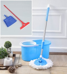 Kingsburry Plastic Blue Mop With Free Dust Pan & Apple Wiper