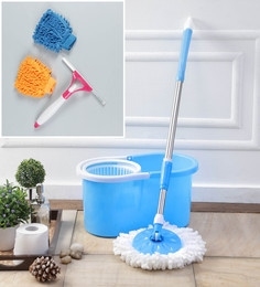 Kingsburry Plastic Blue Mop With Free Hand Gloves & Spray Glass Wiper