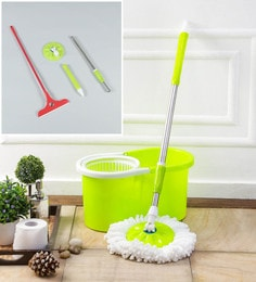 Kingsburry Plastic Green Mop With Free Mop Rod & Apple Wiper