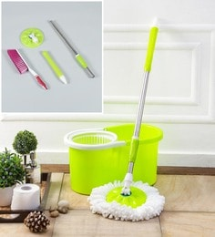 Kingsburry Plastic Green Mop With Free Mop Rod & Mat Brush
