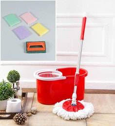 Kingsburry Plastic Red Mop With Free Brush & Steel Juna