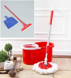 Kingsburry Plastic Red Mop With Free Dust Pan & Apple Wiper