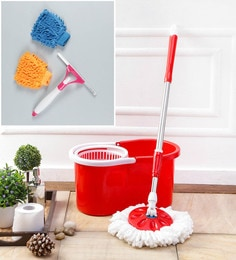 Kingsburry Plastic Red Mop With Free Hand Gloves & Spray Glass Wiper