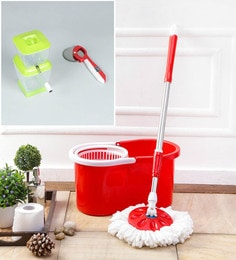 Kingsburry Plastic Red Mop With Free Onion Chopper & Pizza Cutter
