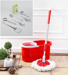 Kingsburry Plastic Red Mop With Free Set Of 6 Serving & Cooking & 4 In1 Slicer
