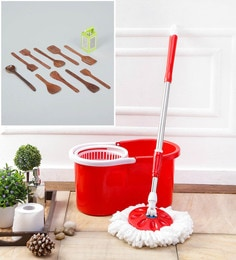 Kingsburry Plastic Red Mop With Free Wooden Cutlery & 4 In 1 Slicer