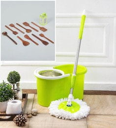 Kingsburry Steel Green Mop With Free Wooden Cutlery & 4 In 1 Slicer
