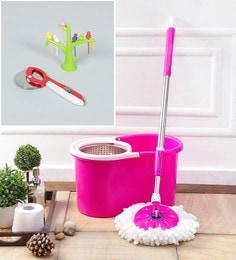Kingsburry Steel Pink Mop With Free Fruit Fork & Pizza Cutter