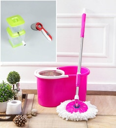 Kingsburry Steel Pink Mop With Free Onion Chopper & Pizza Cutter