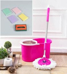Kingsburry Steel Pink Mop With Free Tile Brush & Steel Juna