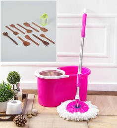 Kingsburry Steel Pink Mop With Free Wooden Cutlery & 4 In 1 Slicer