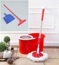 Kingsburry Steel Red Mop With Free Dust Pan & Apple Wiper