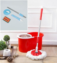 Kingsburry Steel Red Mop With Free Tile Brush & Mop Rod