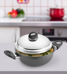 Kitchen Chef Hard Anodised Deep Kadai With Dome Lid 245 Mm