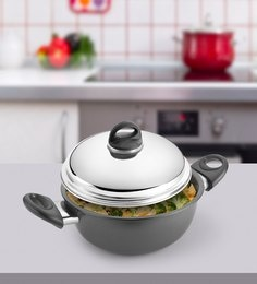Kitchen Chef Hard Anodised Deep Kadai With Dome Lid 275 Mm