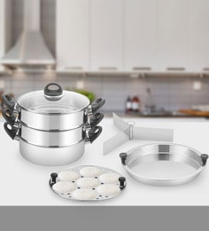 Kitchen Chef Multi Steamer Double Story Stainless Steel Griddle Pan