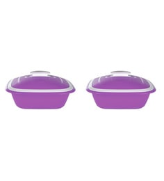 Kitchen Duniya Solitaire Microwave Safe Purple Passion Polypropylene 1.25 L Double Walled Casseroles - Set Of 2