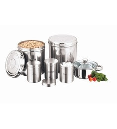 Kitchen Essentials Stainless Steel Storage Containers And Cookware Combo - Set Of 7