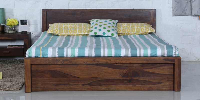 Acropolis King Bed with Box Storage in Provincial Teak Finish by Woodsworth